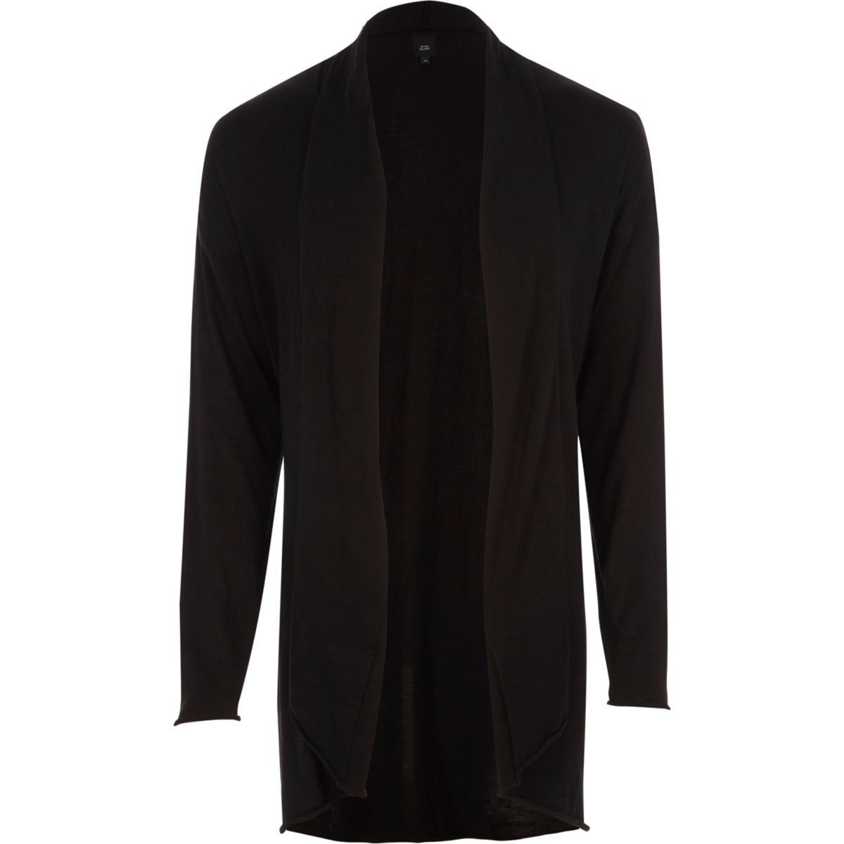 Black longline curved hem cardigan