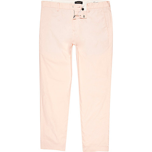 Peach slim fit ankle grazer chino trousers