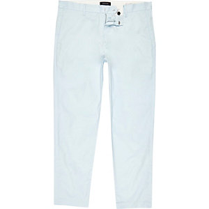 Light blue slim fit cropped chino trousers
