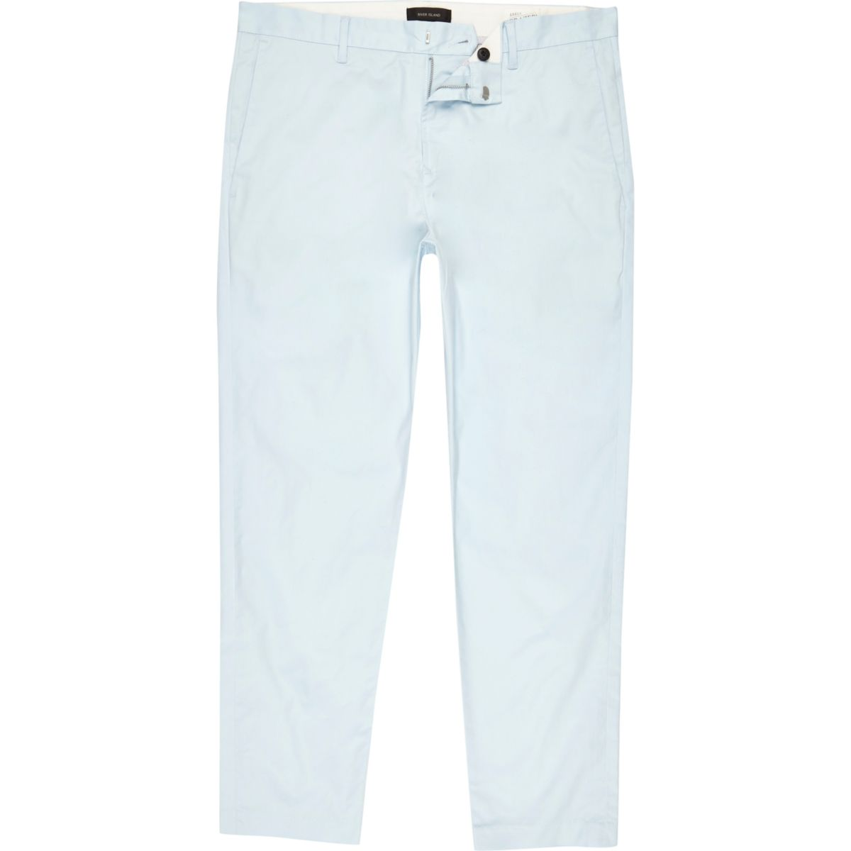 Light blue slim ankle grazer chino trousers