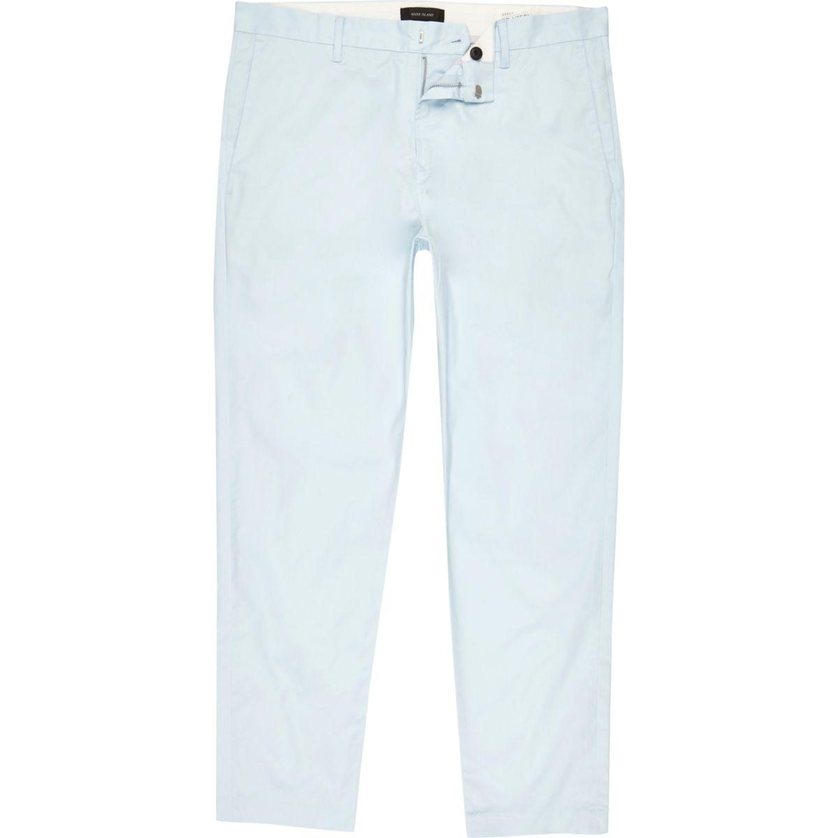 pantalon chino slim bleu clair longueur cheville pantalons soldes homme. Black Bedroom Furniture Sets. Home Design Ideas