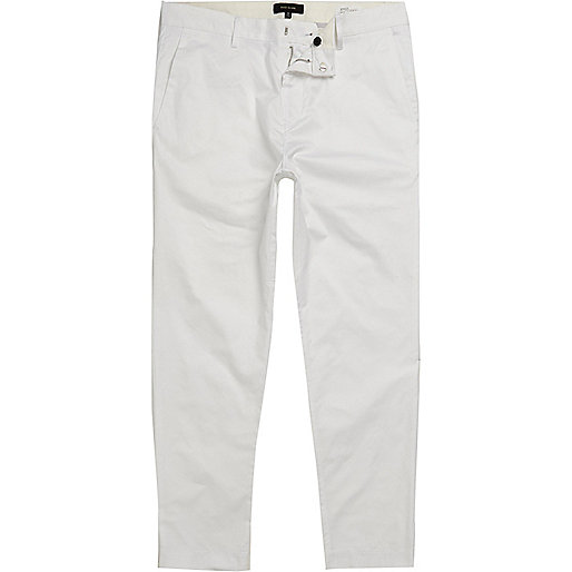 White slim fit cropped chino trousers