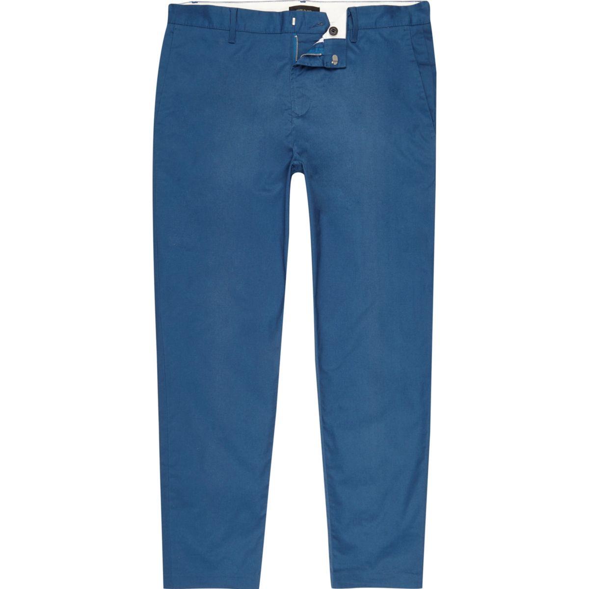 Pantalon chino slim bleu longueur cheville
