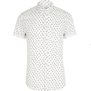 White feather skinny fit short sleeve shirt