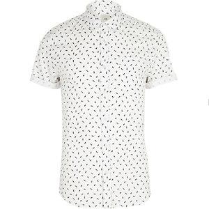 Chemise skinny imprimé plumes blanche à manches courtes
