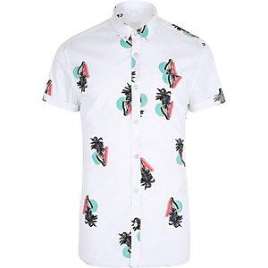 Weißes Muscle Fit Hemd mit Palmenmotiv