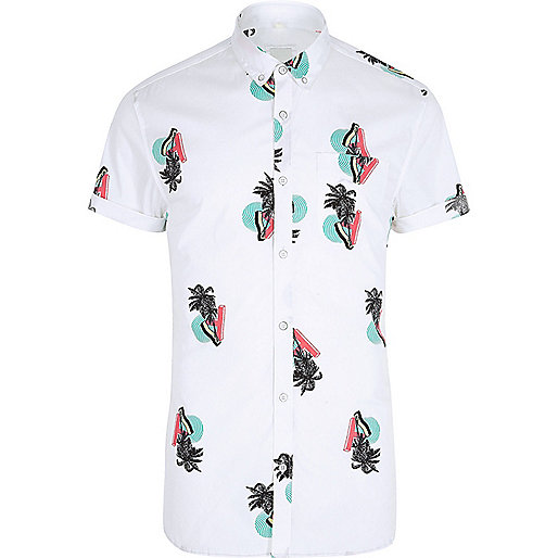 White retro palm tree print muscle fit shirt