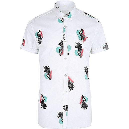 White retro palm tree print muscle fit shirt