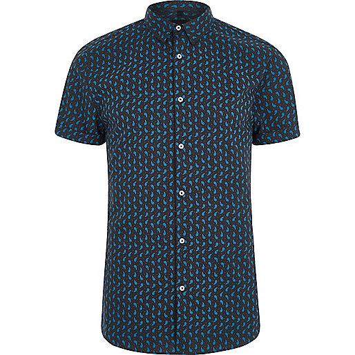 Navy paisley print muscle fit shirt