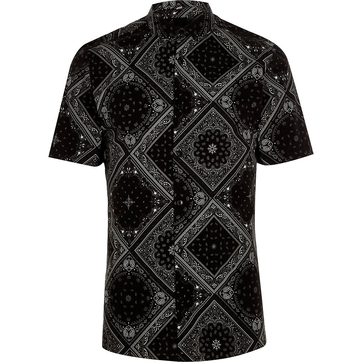 Schwarzes Skinny Fit Hemd mit Bandana-Muster