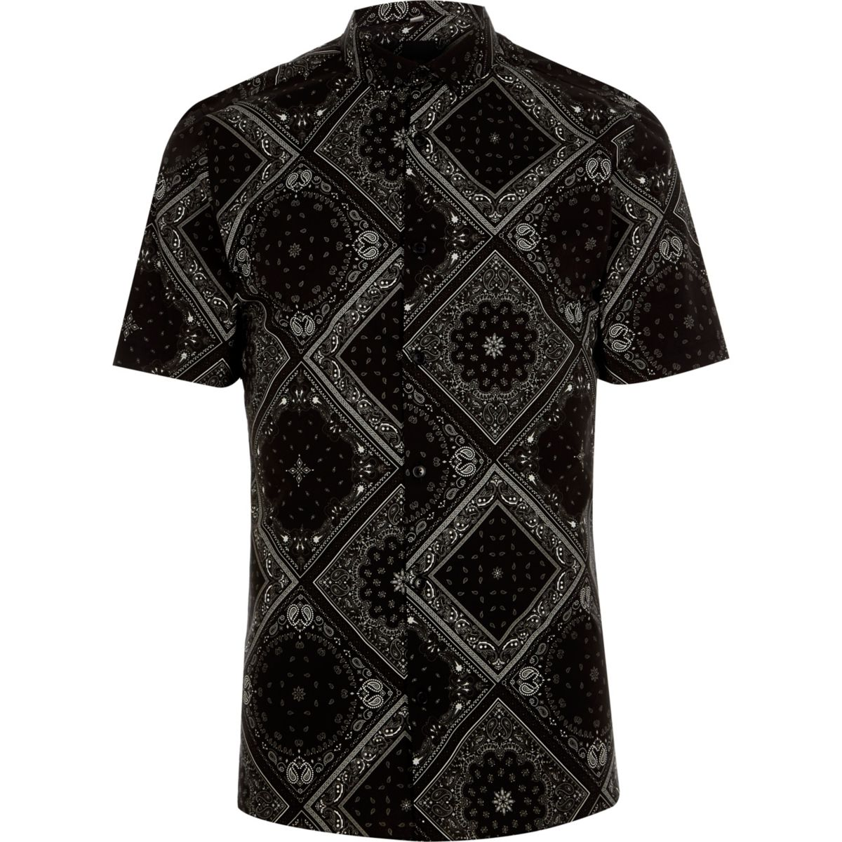 Chemise skinny noire à manches courtes et motif bandana