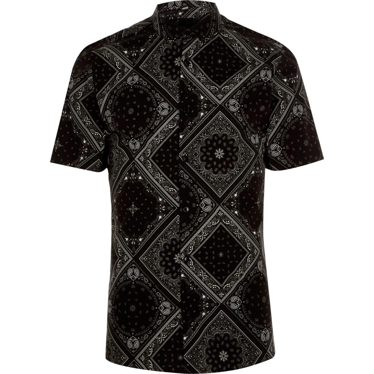 Zwart bandana skinny-fit overhemd met korte mouwen