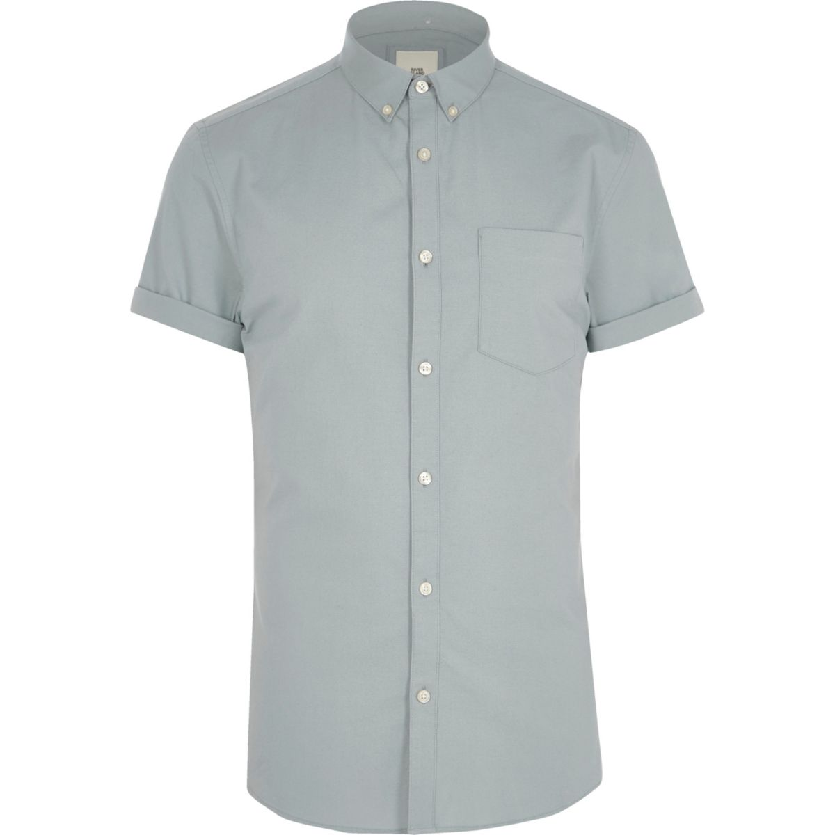 Grey muscle fit short sleeve shirt