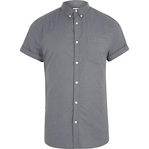 Oxford - Grijs aansluitend overhemd met korte mouwen