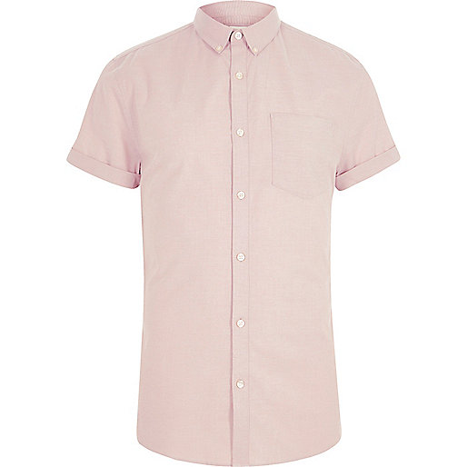 Pink muscle fit short sleeve Oxford shirt