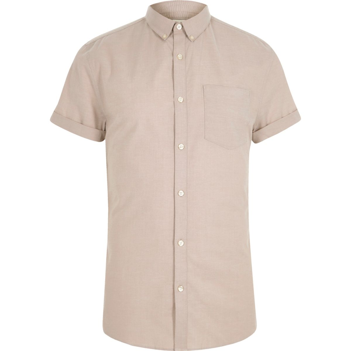 Stone muscle fit short sleeve Oxford shirt
