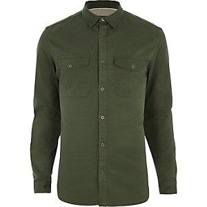 Chemise militaire ajustée vert kaki