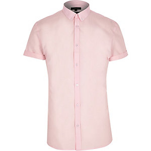 Pink short sleeve slim fit smart shirt