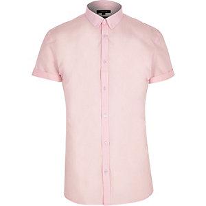 Roze net slim-fit overhemd met korte mouwen