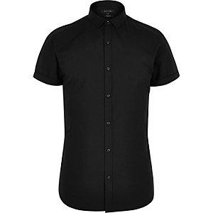 Zwart net slim-fit overhemd met korte mouwen