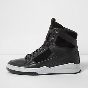 Black Jack & Jones hi top leather trainers