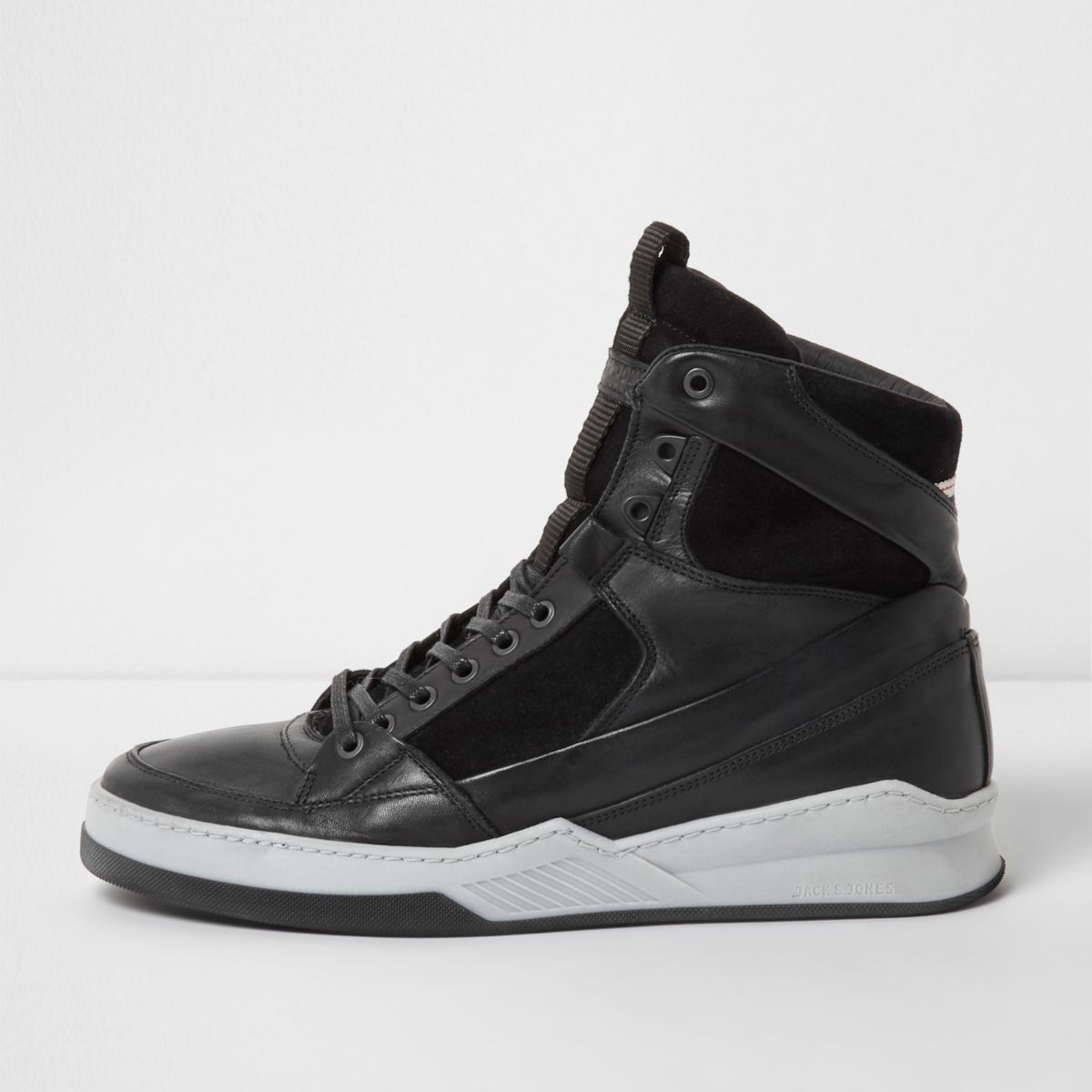 Black Jack & Jones hi top leather sneakers