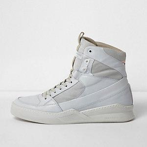 White Jack & Jones leather hi top sneakers