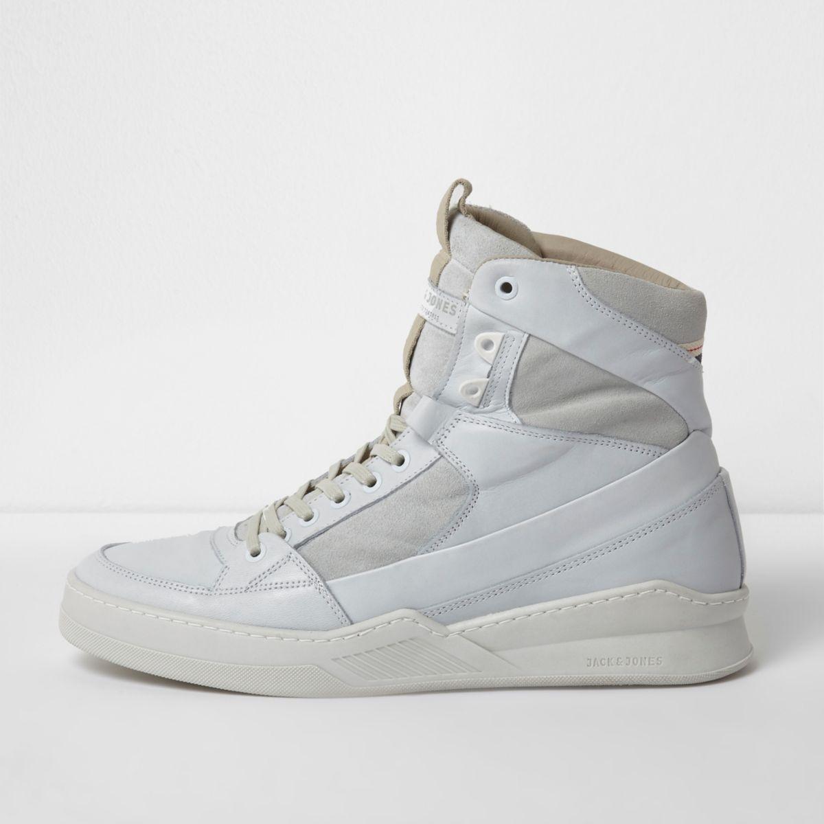 Jack & Jones white leather hi top trainers