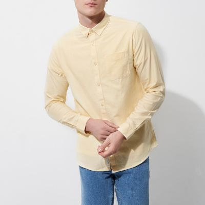 Geel casual button-down Oxford overhemd