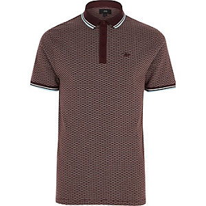 Red jacquard tipped slim fit polo shirt
