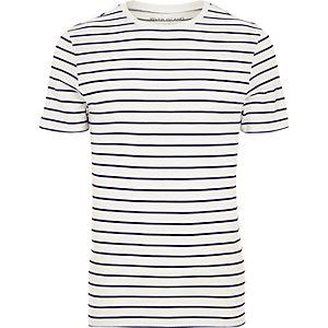 Gestreiftes Muscle Fit T-Shirt in Creme mit Rundhalsausschnitt