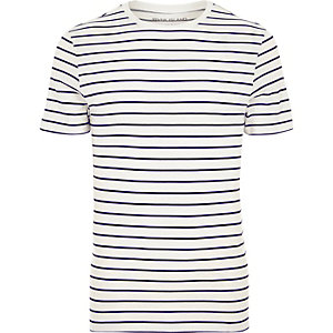 Cream stripe crew neck muscle fit T-shirt