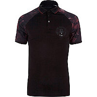 Big and Tall black printed raglan polo shirt