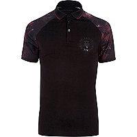 Big and Tall black printed raglan polo shirt