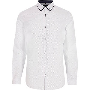 White ditsy spot long sleeve shirt