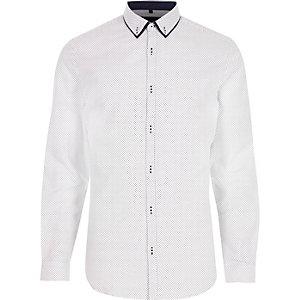 Wit overhemd met ditsyprint en lange mouwen