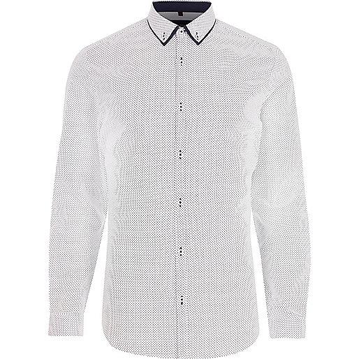 White ditsy spot long sleeve shirt
