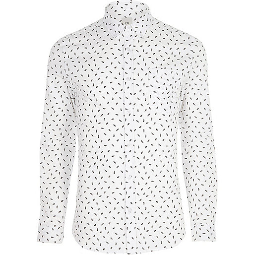 White feather skinny fit long sleeve shirt