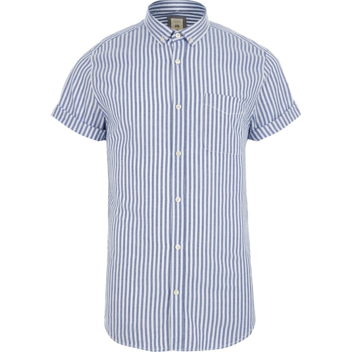 Blue stripe slim fit short sleeve shirt