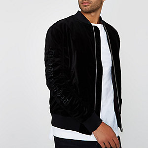 Jack & Jones – Bomber en velours noir