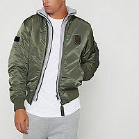Green Jack & Jones hoodie bomber jacket