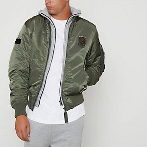 Green Jack & Jones hoodie bomber jacket