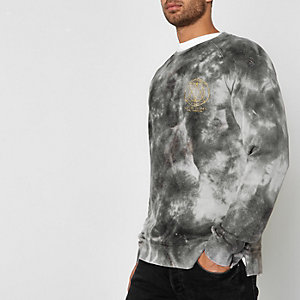 Sweat Jack & Jones gris ras du cou effet tie-dye