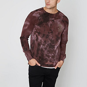 Sweat Jack & Jones rouge ras du cou effet tie-dye