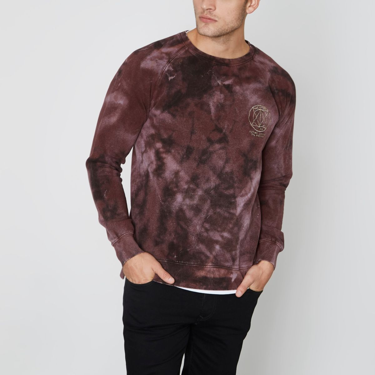 Red Jack & Jones tie dye crew sweatshirt