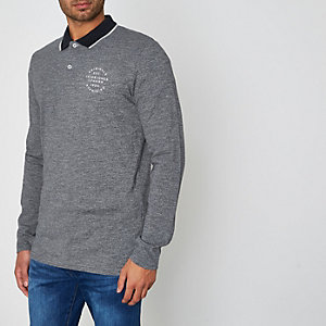 Blue Jack & Jones long sleeve polo shirt