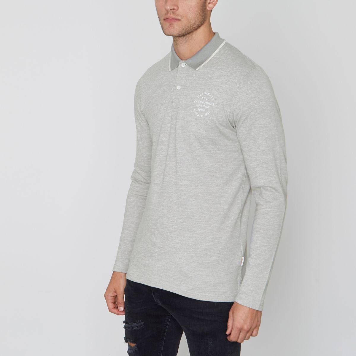 Grey Jack & Jones long sleeve polo shirt