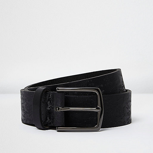 Black camo imprint leather belt