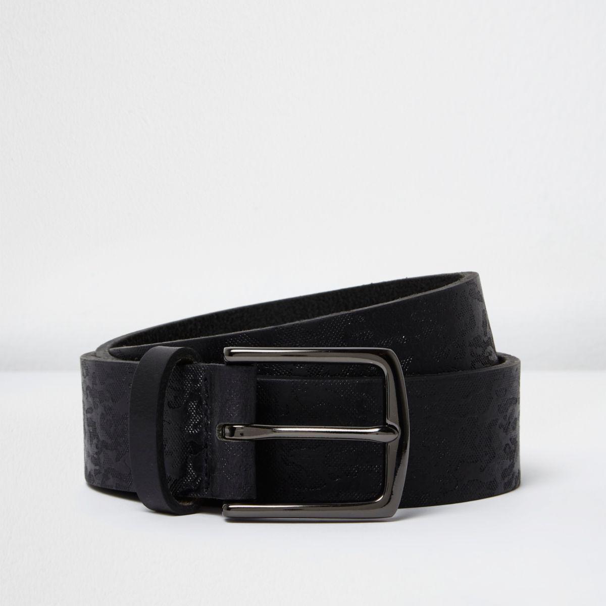 Black camo imprint leather belt