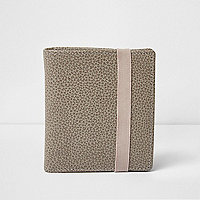Grey elastic fold textured leather wallet